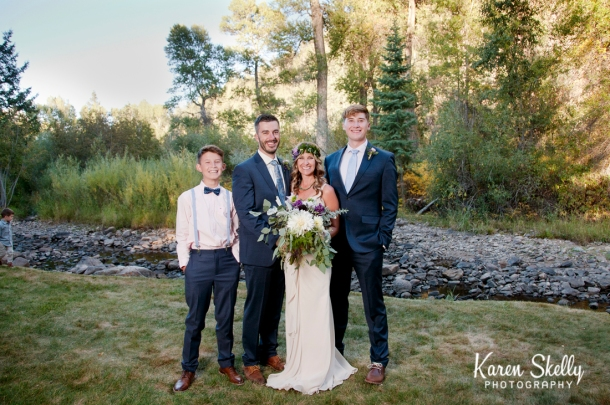 Bride, Groom, and their 2 sons by Photographers in Durango CO, Durango CO Photographers, Durango Wedding Photographers, Wedding Photographers in Durango CO