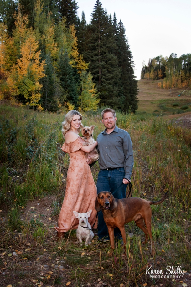 Engagement session with 3 fur babies, photographers in durango co, durango co photographers, durango photography, durango wedding photographers