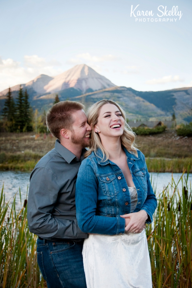 Engaged couple laughing, photographers in durango co, durango photography, durango co photographers, durango wedding photographers