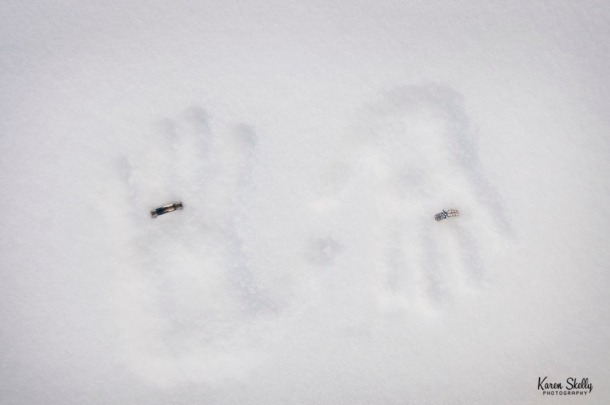 hand imprints with wedding rings in the snow, photographers in durango co, durango co photographers, durango photography, durango wedding photographers, wedding photographers in durango co