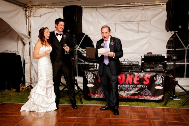 Dad toasting bride and groom, photographers in durango co, durango photography, durango co photographers