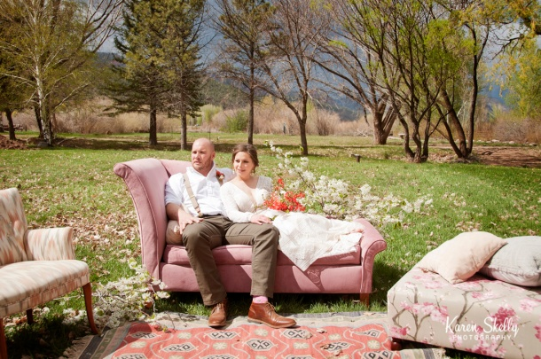 Bride and Groom on vintage couch, photographers in durango co, durango co photographers, durango photography