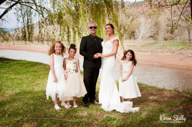 Bride, Groom, and 3 flower girls, durango photography, durango photographers, photographers in durango co