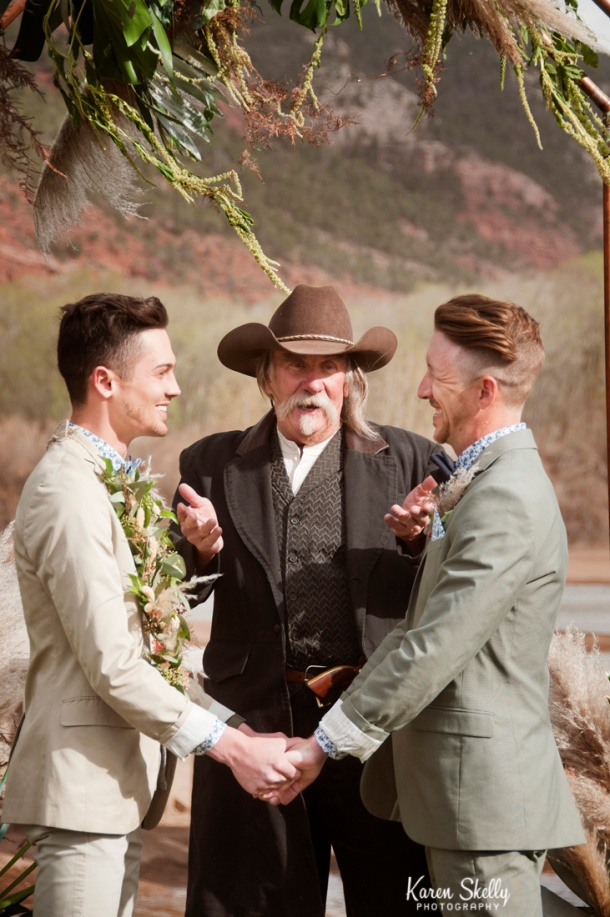 Groom and Groom during wedding ceremony, photographers in durango co, durango co photographers, durango photography