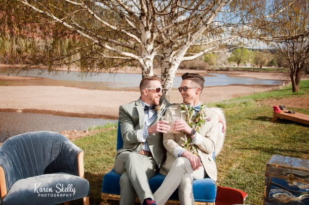 Groom and Groom toasting, photographers in durango co, durango photography, durango co photographers